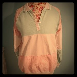 80's Retro Pastel Color Block Collard Sweatshirt M